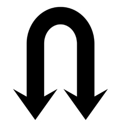 Double Back Arrow Flat Icon vector image vector image