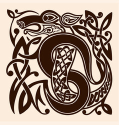 drawing a celtic dragon vector image