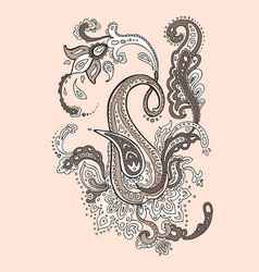 Exotic paisley ethnic ornament hand drawn boho vector