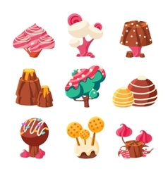 Fantasy Sweet Trees Set vector