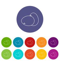 farm eggs icons set color vector image