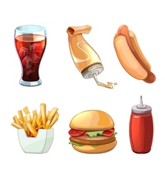 Fast food cartoon icons set vector