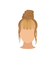 female head with trendy hairstyle top bun and vector image