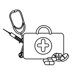 Figure suitcase health with stethoscope syringe vector