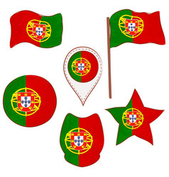 Flag of the portugal performed in defferent shapes vector