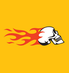 Flaming skull retro hot rod motorcycle design vector