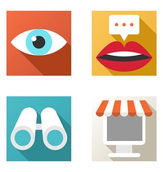 Flat design icon set Online shopping chat vector