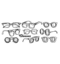 Glasses fashion accessory monochrome set vector