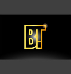 Gold black alphabet letter bt b t logo vector