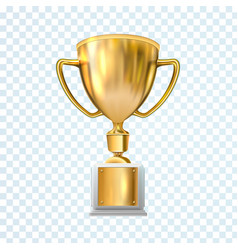 golden trophy cup isolated on transparent vector image