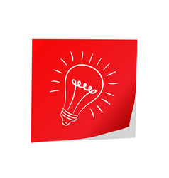 Great idea - red post paper and electric bulb vector