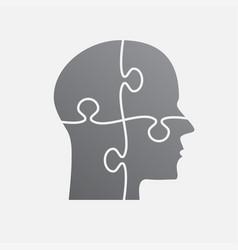 Grey puzzle piece silhouette head jigsaw vector