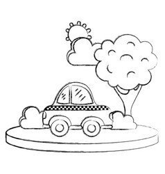 Grunge taxi car service in the city with tree vector