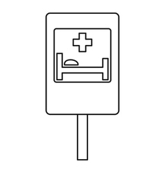 Hospital road sign icon outline style vector image