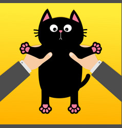 Human businessman hand holding black cat funny vector