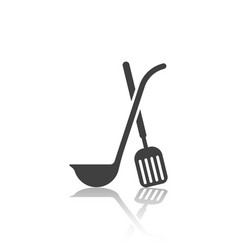 icon of the crossed ladle and scapula with mirror vector image