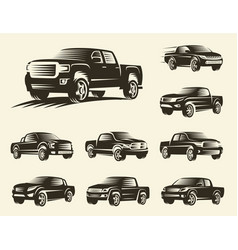 Isolated monochrome pickup trucks logo set cars vector