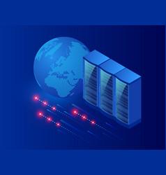 isometric modern server room cybersecurity vector image