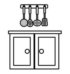 Kitchen drawer wooden with utensils hanging vector