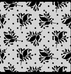 Lace floral black seamless pattern vector