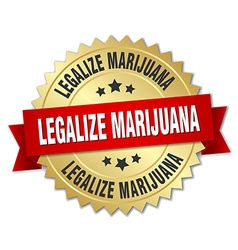 Legalize marijuana 3d gold badge with red ribbon vector
