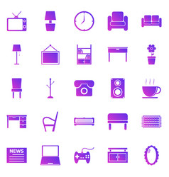 living room gradient icons on white background vector image