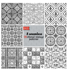Medieval seamless pattern vector