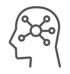 mind map line icon data and analytics vector image