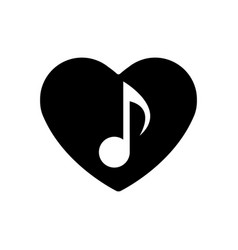 musical note icon in black heart perfect love vector image