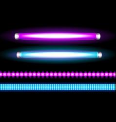 neon tube lamps and led strips long light bulbs vector image
