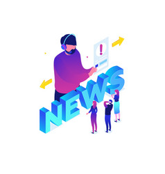 News concept - modern colorful isometric vector