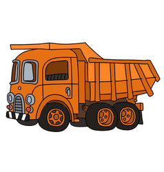 Old orange dumper truck vector