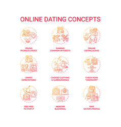 Online dating concept icons set vector