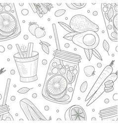 pattern healthy fruit outlines vector image