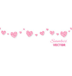 Pink hearts frame seamless border glitter vector