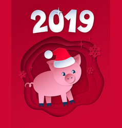 postcard new year pig vector image