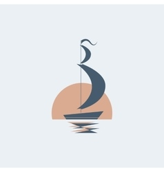 Sailing ship on the moon backgraund vector