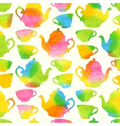 Seamless pattern with watercolor cups and teapots vector image