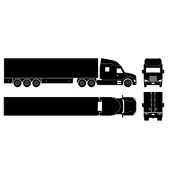 semi trailer truck black icons vector image