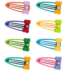 Set hair barrettes in different color on white vector
