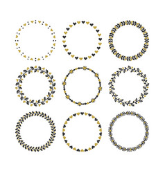 Set of black and golden heart wreaths and circle vector