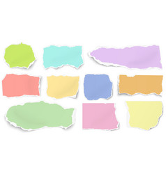 set of color paper different shapes tears vector image