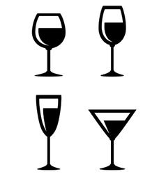 set of isolated wine glasses icons vector image