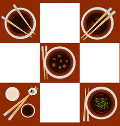 set of portion variations of miso soup vector image