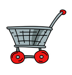Shopping trolley cartoon hand drawn image vector