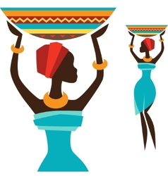 Silhouette of african girl which carries basket vector image