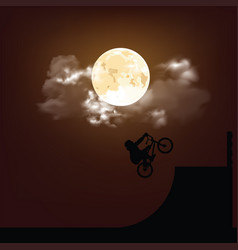 silhouetted bmx rider at night vector image