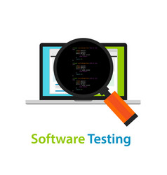 software testing looking closer close-up to the vector image