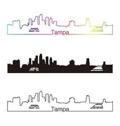 Tampa skyline linear style with rainbow vector image