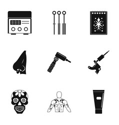 tattoo accessory icon set simple style vector image